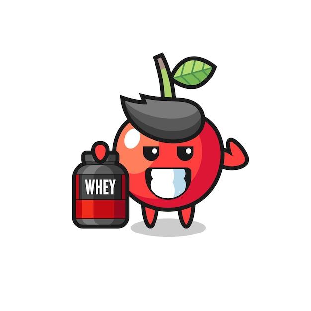 Il muscoloso personaggio di ciliegia tiene in mano un integratore proteico, un design in stile carino per maglietta, adesivo, elemento logo