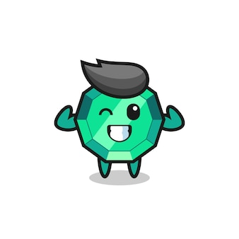 Il muscoloso personaggio della pietra preziosa smeraldo sta posando mostrando i suoi muscoli, un design carino in stile per t-shirt, adesivo, elemento logo