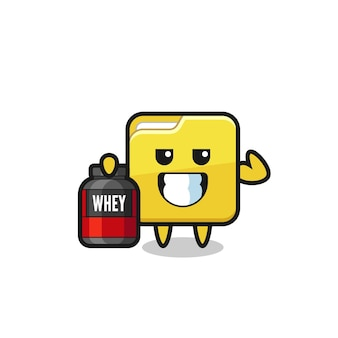 Il personaggio muscoloso della cartella tiene in mano un integratore proteico, un design in stile carino per maglietta, adesivo, elemento logo