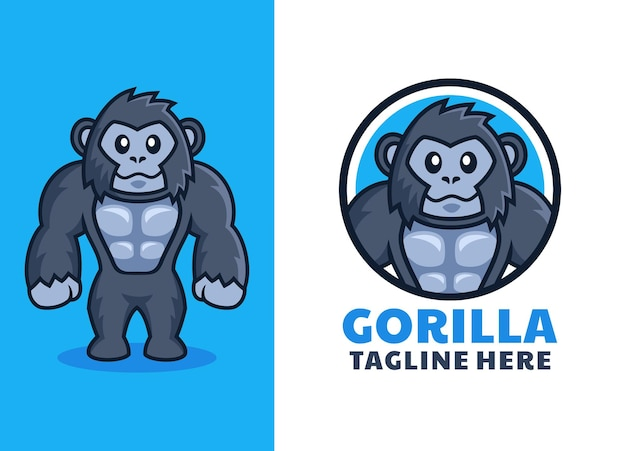 Logo del fumetto gorilla amichevole muscolare