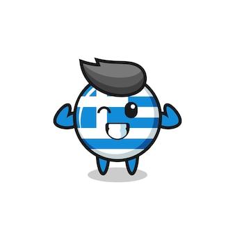 Il muscoloso personaggio della bandiera greca sta posando mostrando i suoi muscoli, un design carino in stile per maglietta, adesivo, elemento logo Vettore Premium