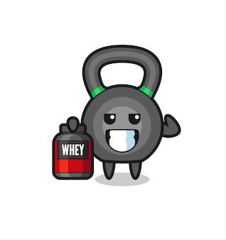 Il muscoloso personaggio del kettleball tiene in mano un integratore proteico, un design in stile carino per maglietta, adesivo, elemento logo