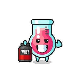 Il muscoloso personaggio del bicchiere da laboratorio tiene in mano un integratore proteico, un design in stile carino per maglietta, adesivo, elemento logo