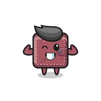Il muscoloso personaggio del portafoglio in pelle è in posa mostrando i suoi muscoli, un design in stile carino per maglietta, adesivo, elemento logo