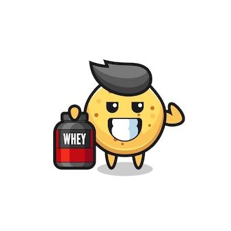 Il personaggio muscoloso delle patatine tiene in mano un integratore proteico, un design carino