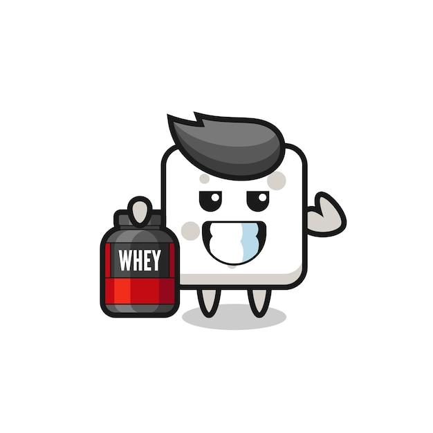Il personaggio muscoloso della zolletta di zucchero tiene in mano un integratore proteico, un design in stile carino per maglietta, adesivo, elemento logo