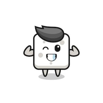 Il personaggio muscoloso della zolletta di zucchero sta posando mostrando i suoi muscoli, un design in stile carino per maglietta, adesivo, elemento logo