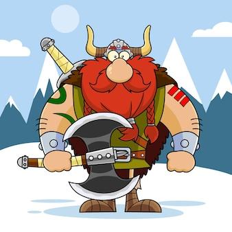 Personaggio dei cartoni animati vichingo muscoloso che tiene una grande ascia. illustrazione con sfondo di montagna