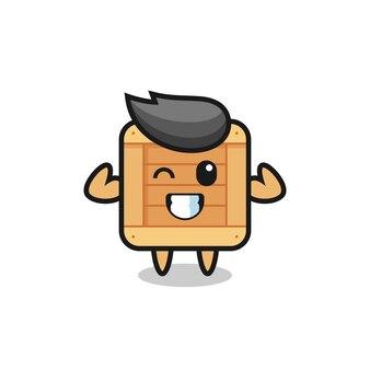 Il muscoloso personaggio della scatola di legno sta posando mostrando i suoi muscoli, un design in stile carino per maglietta, adesivo, elemento logo
