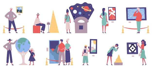Visitatori di musei, gallerie d'arte e mostre planetarie. insieme dell'illustrazione di vettore delle mostre del museo di storia e delle opere d'arte della pittura della galleria