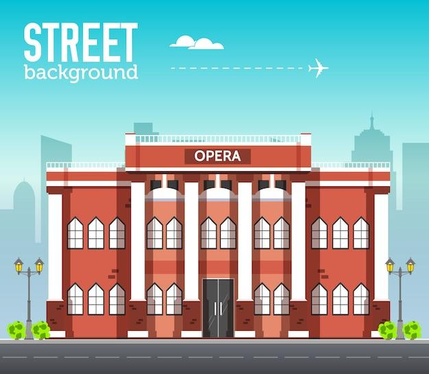 Edificio del museo nello spazio della città con la strada sul concetto di sfondo piatto syle