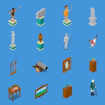 Set di icone isometriche del museo