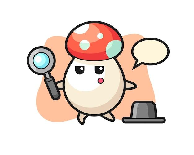 Personaggio dei cartoni animati di funghi che cerca con una lente d'ingrandimento, design in stile carino per maglietta, adesivo, elemento logo