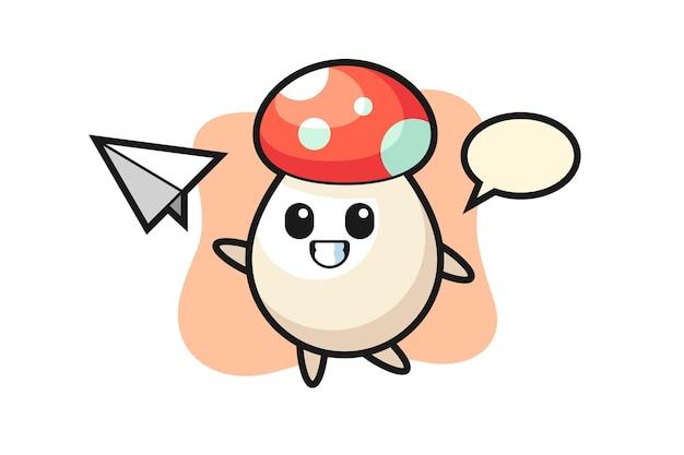 Personaggio dei cartoni animati di funghi che lancia aeroplano di carta, design in stile carino per maglietta, adesivo, elemento logo