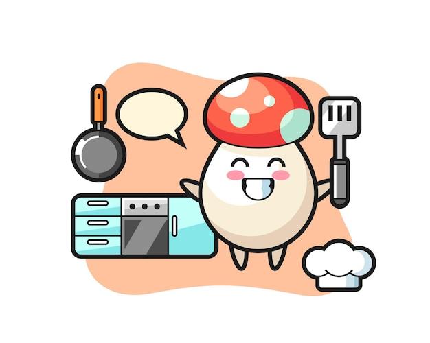 Illustrazione del personaggio dei funghi mentre uno chef sta cucinando, design in stile carino per maglietta, adesivo, elemento logo