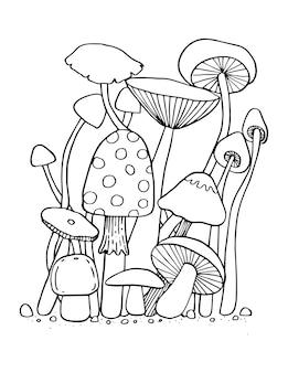 Fungo per libro da colorare illustrazione isolata