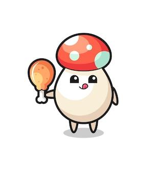 La simpatica mascotte dei funghi sta mangiando un pollo fritto, un design in stile carino per maglietta, adesivo, elemento logo