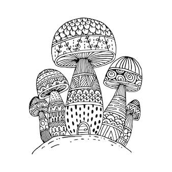Scarabocchi di funghi per libro da colorare isolato