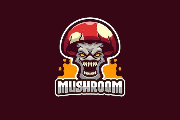 Modello di logo di e-sport di funghi