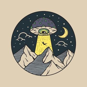 Illustrazione di ufo con gli occhi a fungo che assorbe le persone in montagna