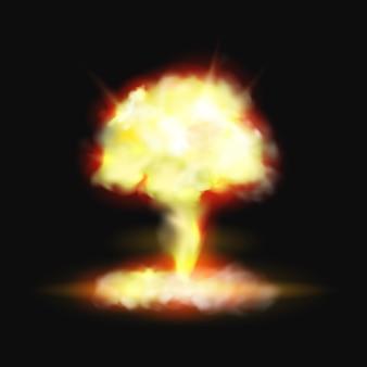 Bomba di esplosione di fuoco a fungo o effetto pyro scoppiato realistico d su sfondo nero e fama vettoriale