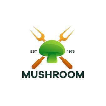 Cibo per funghi gradiente logo design