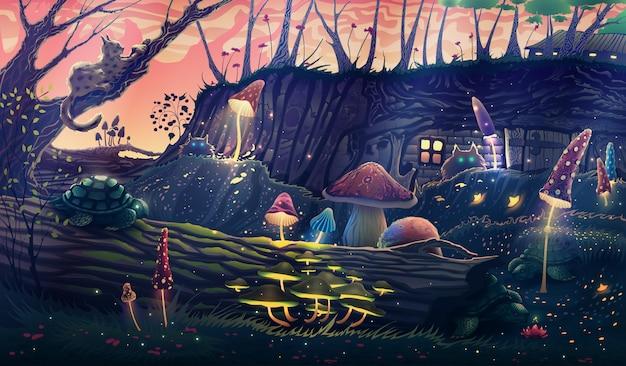 Giardino dei funghi con animali selvatici nel paesaggio della foresta magica estiva