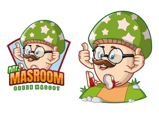 Fumetto della mascotte del fungo verde
