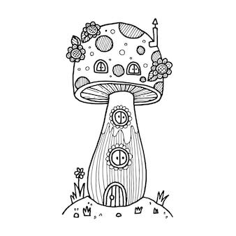 Casa dei funghi in scarabocchi da favola. illustrazione isolata