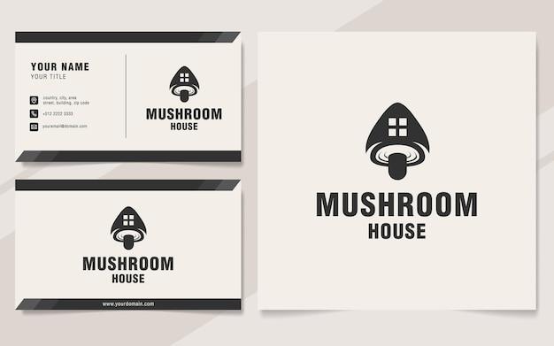 Modello di logo della casa dei funghi in stile monogramma