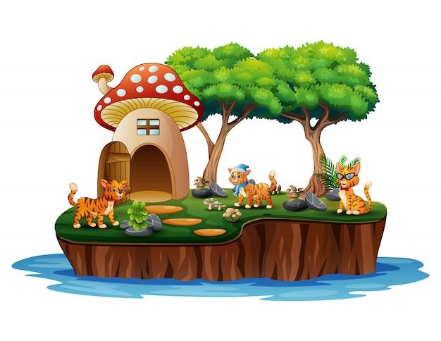 Una casa dei funghi con molti gatti sull'isola