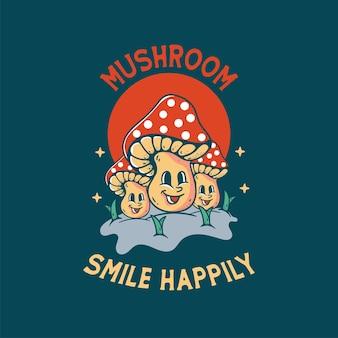 Illustrazione di funghi con design retrò vintage classico teschio per magliette