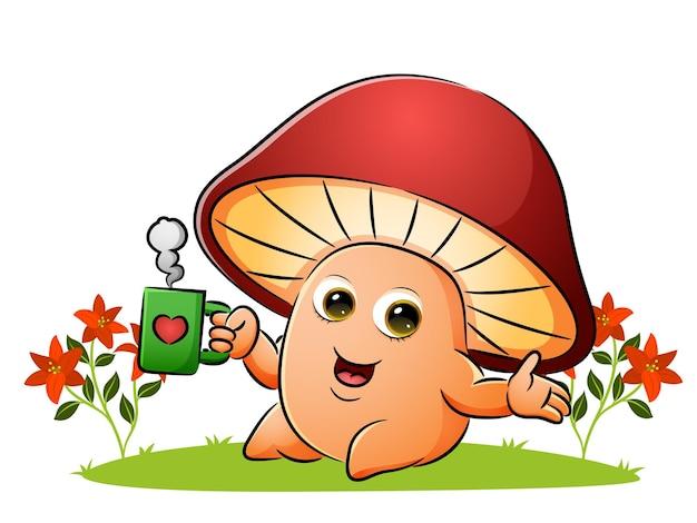 Il fungo si sta godendo una tazza di caffè nel giardino dell'illustrazione