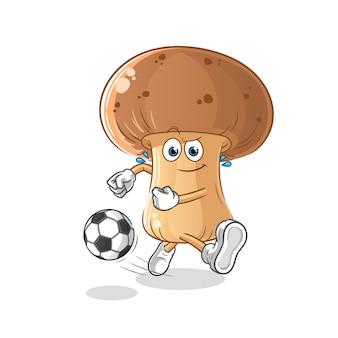 Fungo che dà dei calci al fumetto della palla. mascotte dei cartoni animati