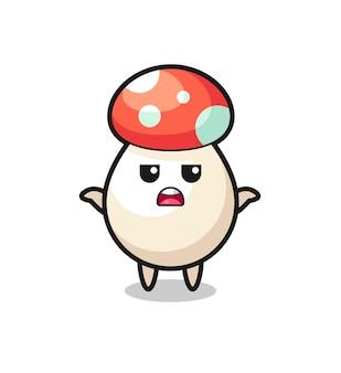 Personaggio mascotte del fungo che dice non lo so, design in stile carino per maglietta, adesivo, elemento logo