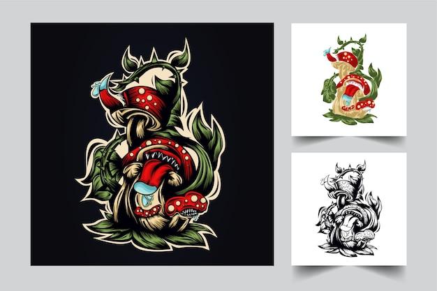 Design logo mascotte fungo con stile moderno concetto di illustrazione per budge, emblema