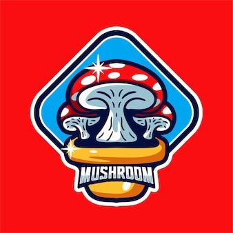 Carattere del logo mascotte dei funghi in stile moderno