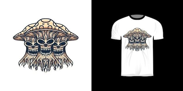 Illustrazione di mostri di funghi per il design di t-shirt
