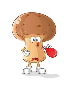 Pantomima di funghi che soffia palloncini carattere. mascotte dei cartoni animati