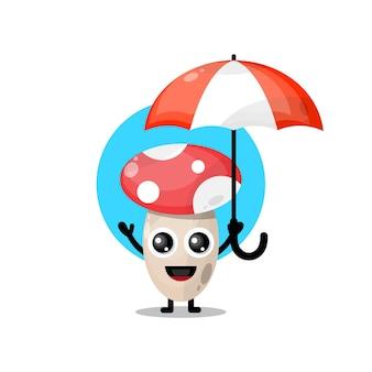 Ombrello a forma di fungo mascotte simpatico personaggio