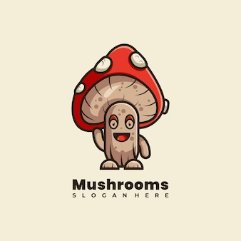 Illustrazione vettoriale di design del logo della mascotte dei funghi