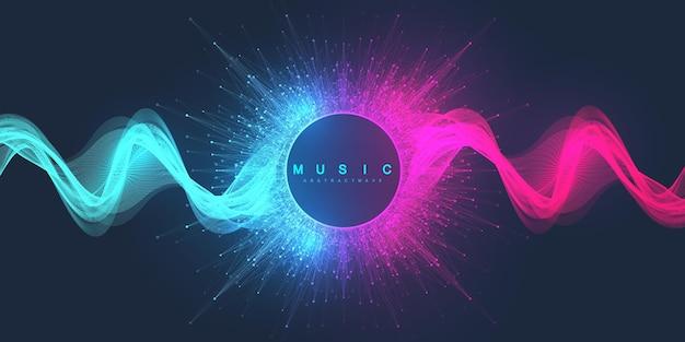 Priorità bassa astratta di musica. disegno del manifesto dell'onda di musica. volantino sonoro con onde linea sfumata astratta, concetto vettoriale.