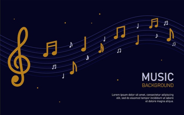 Sfondo musicale con illustrazione vettoriale di note sonore