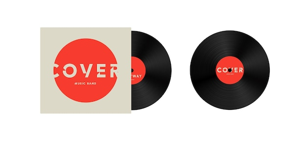 Copertina per banda musicale su modello di illustrazione vettoriale di disco in vinile mock up icona o logo