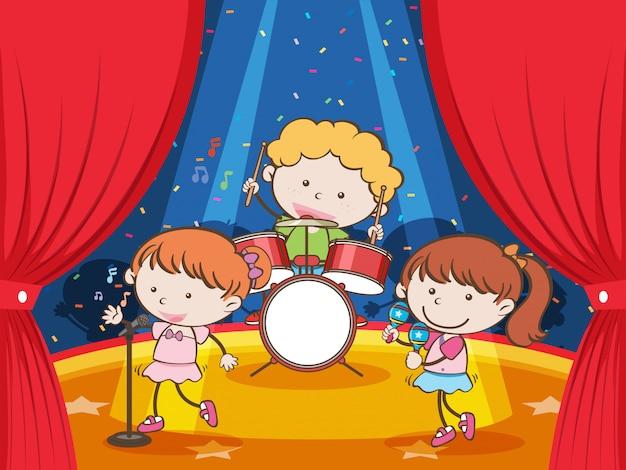 Una band musicale su un palco