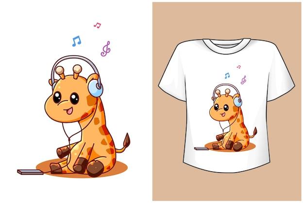 T-shirt giraffa musica cartone animato