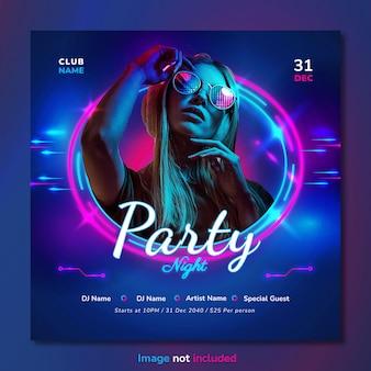Music club dj party social media post e design modello banner web.