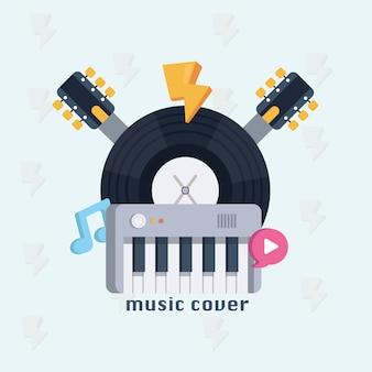 Concetto di musica. manifesto di design musicale con collo di chitarra, note, disco e sintetizzatore.