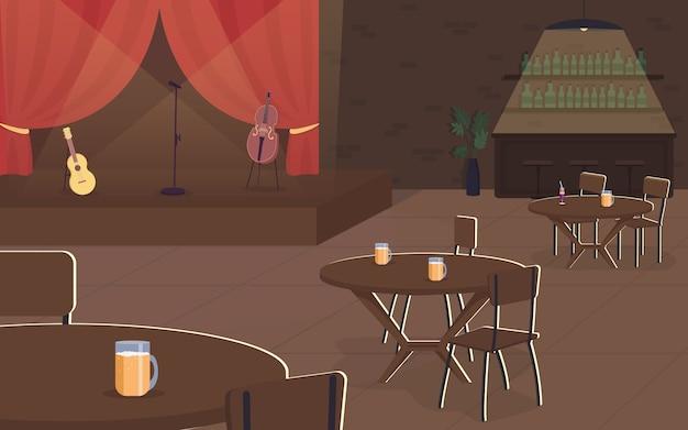 Concerto di musica nell'illustrazione di colore piatto del pub. esibizione musicale dal vivo nella caffetteria. ristorante con spotlife. intrattenimento notturno. bar interno del fumetto 2d con palco sullo sfondo