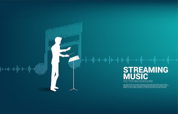Direttore di musica con onda equalizzatore come nota musicale.